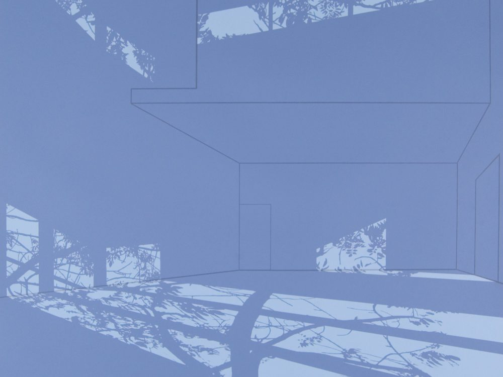 Image of empty museum gallery with projected shadowed of trees in a light blue palette.
