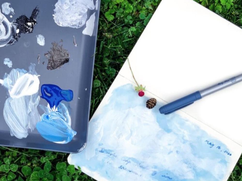 Blue paint on canvas