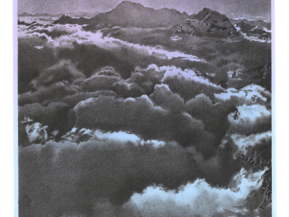 A drawing of clouds in the sky with gray/black clouds and a purple/blue sky.