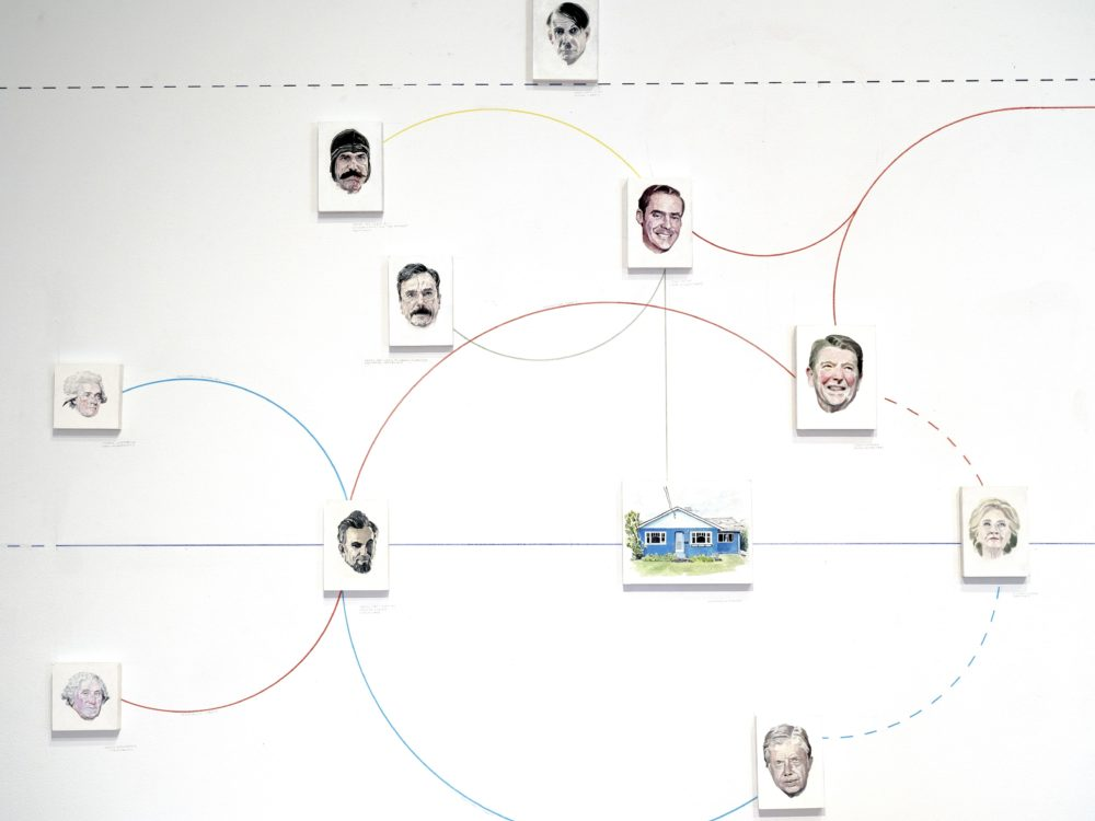 Installation image of William Powhida's wall installation showcasing portraits of politicians linked by different color lines as a timeline.