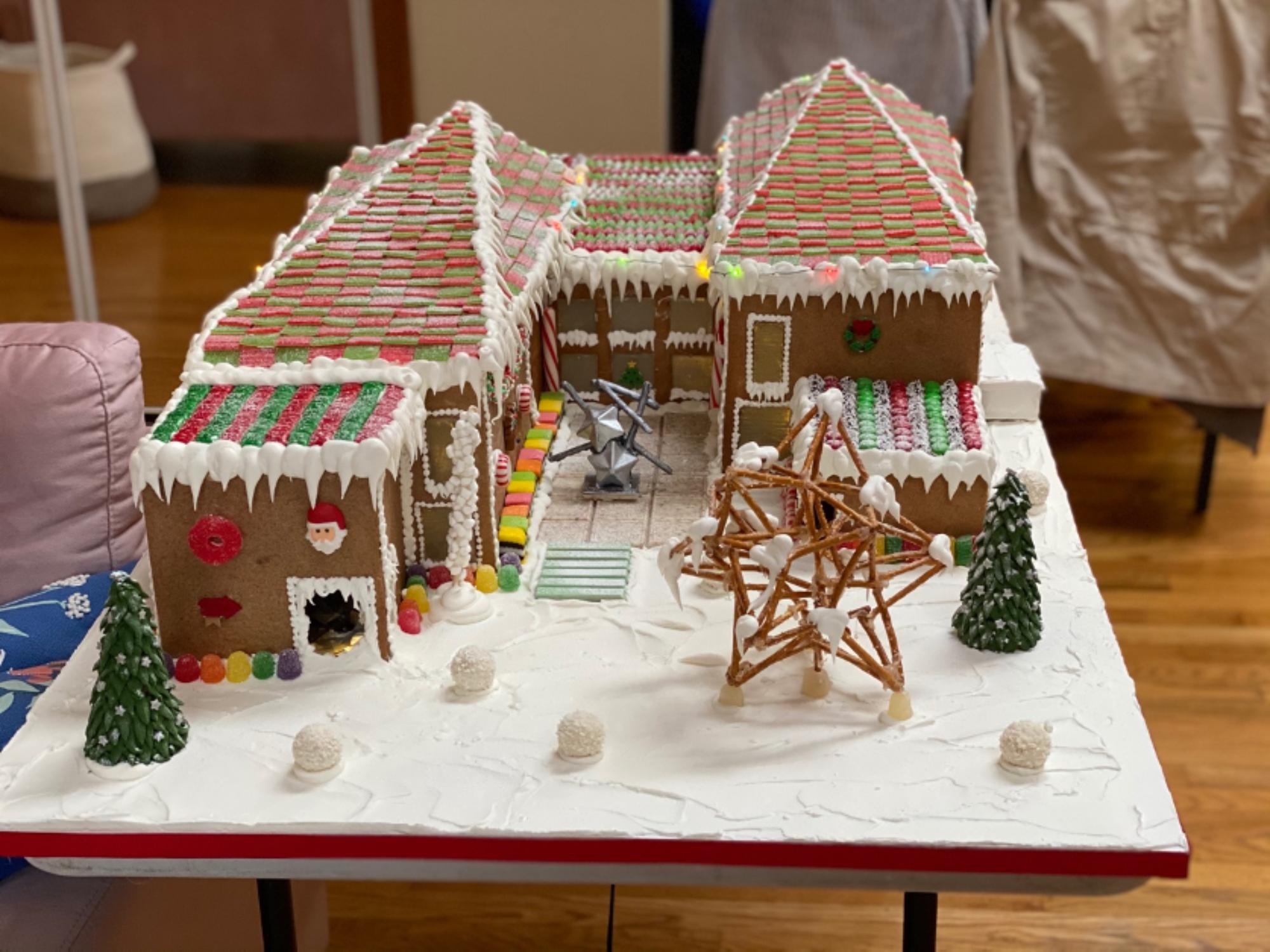 Gingerbread house replica of The Aldrich Contemporary Art Museum