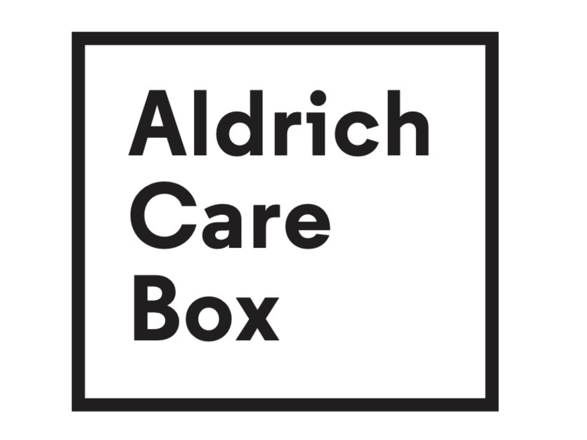 Black lined box with the words Aldrich Care Box stacked vertically inside.