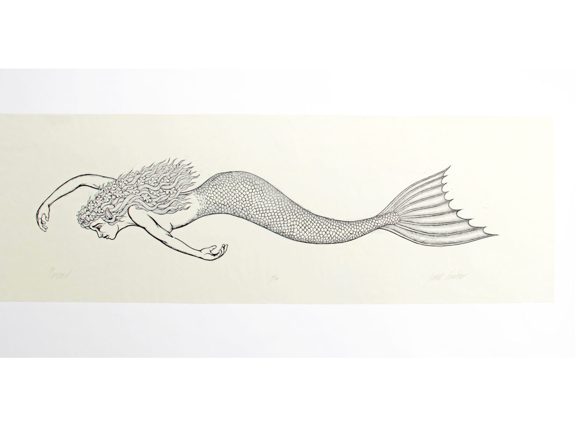 Woodcut print of a mermaid