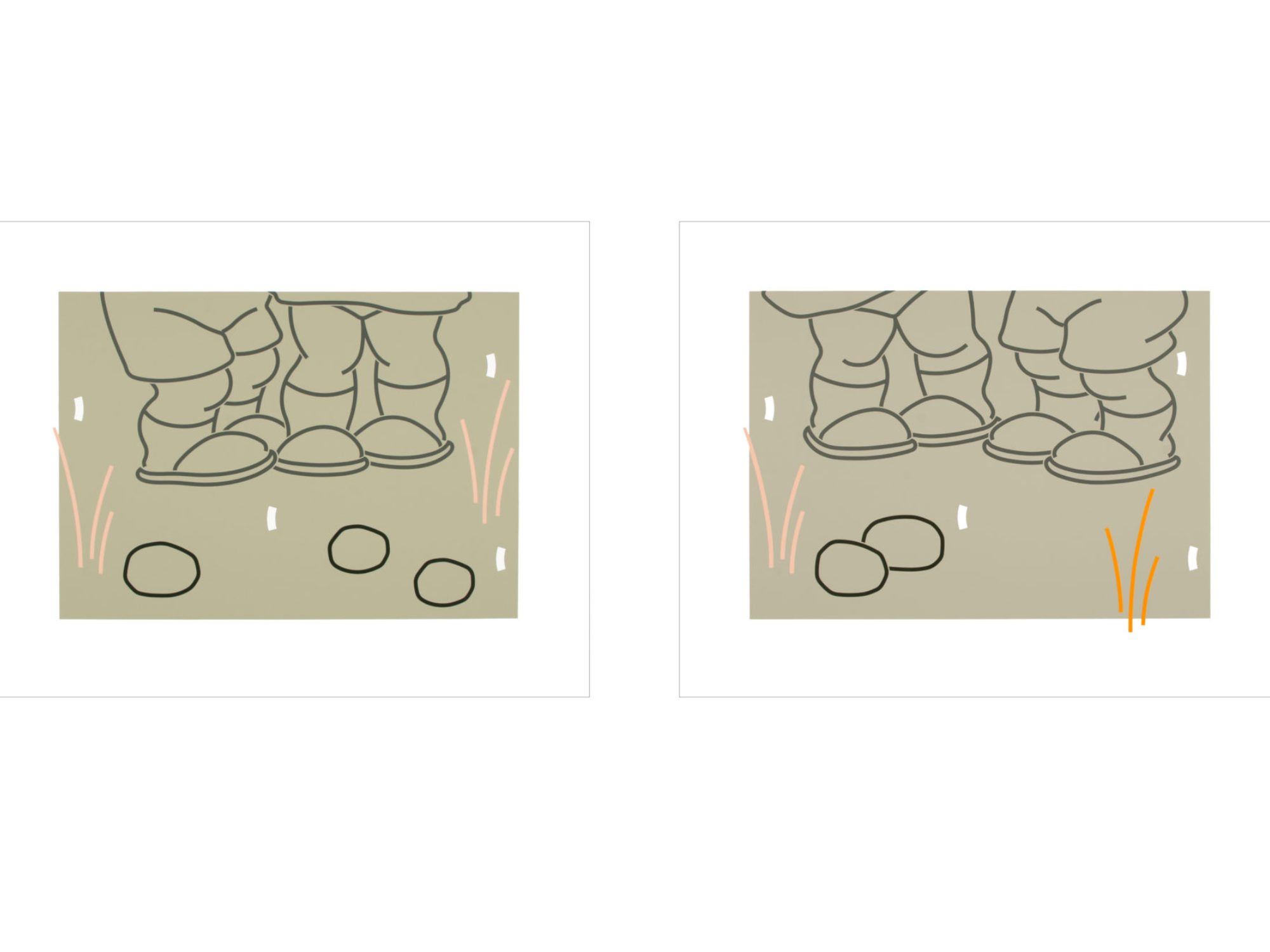 Two prints side by side featuring two sets of feet, grass, and stone in a muted color palette