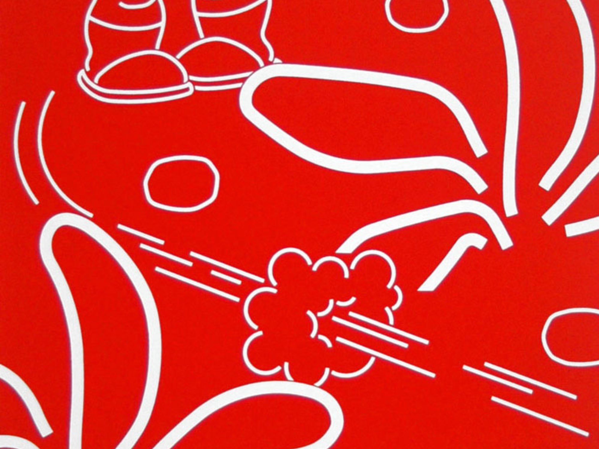 Cartoon drawing of feet and movement symbols in white on a red background.