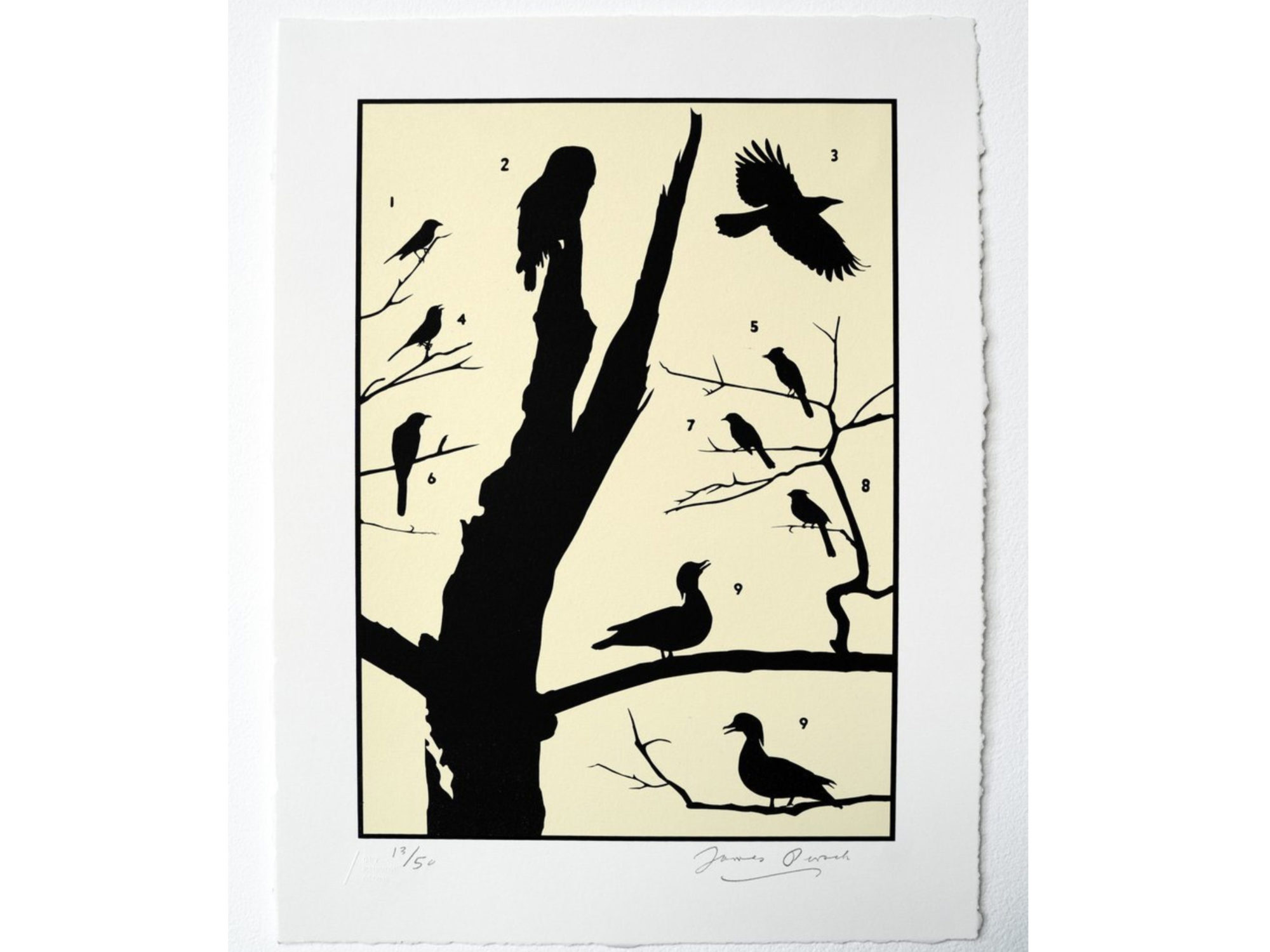 Print with black silhouette of tree truck and birds against a cream colored background.