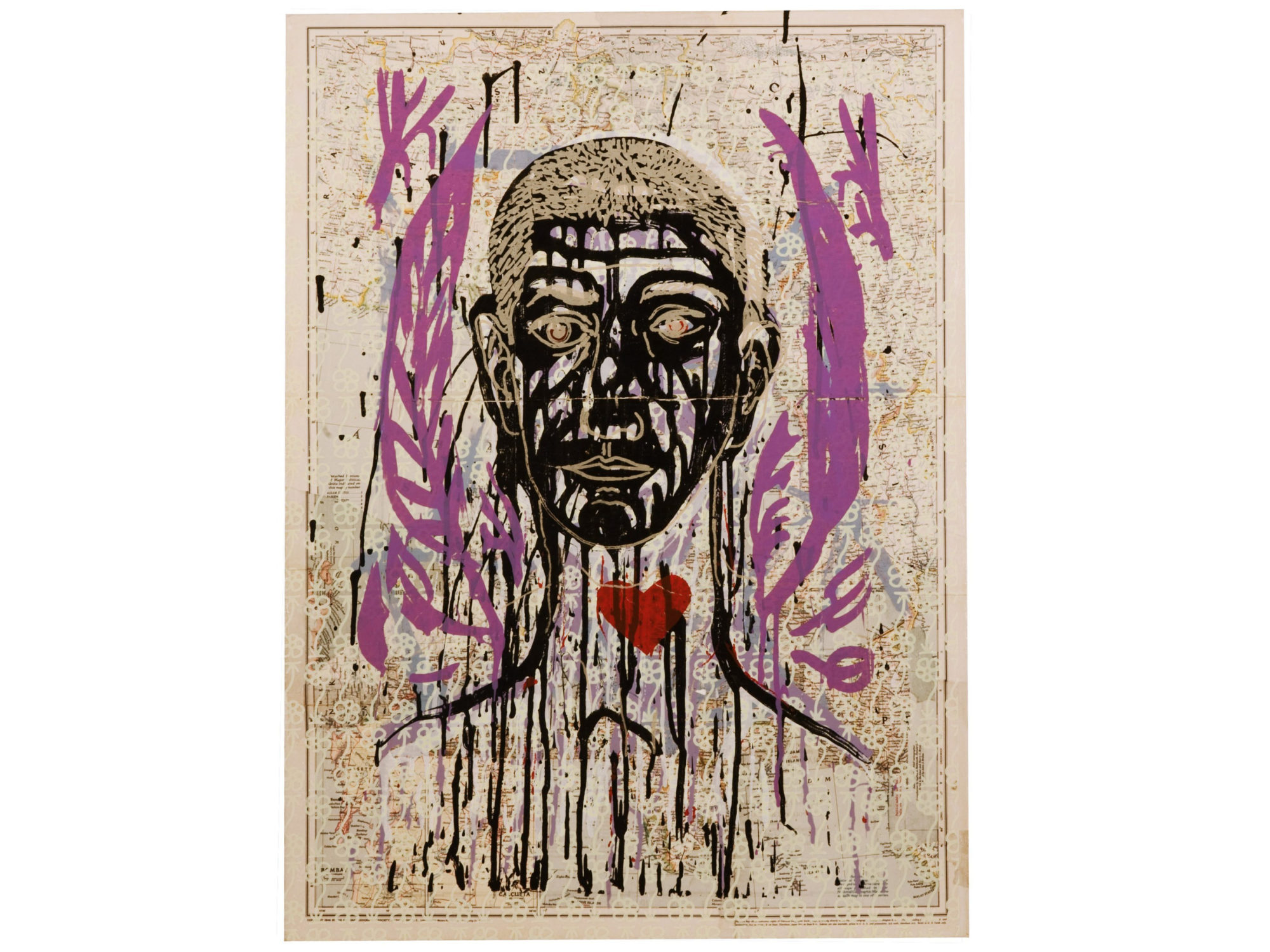 Face drawn with black and gold ink with a red heart at the throat and purple leaves framing it. A map with drawn flowers is the backdrop.