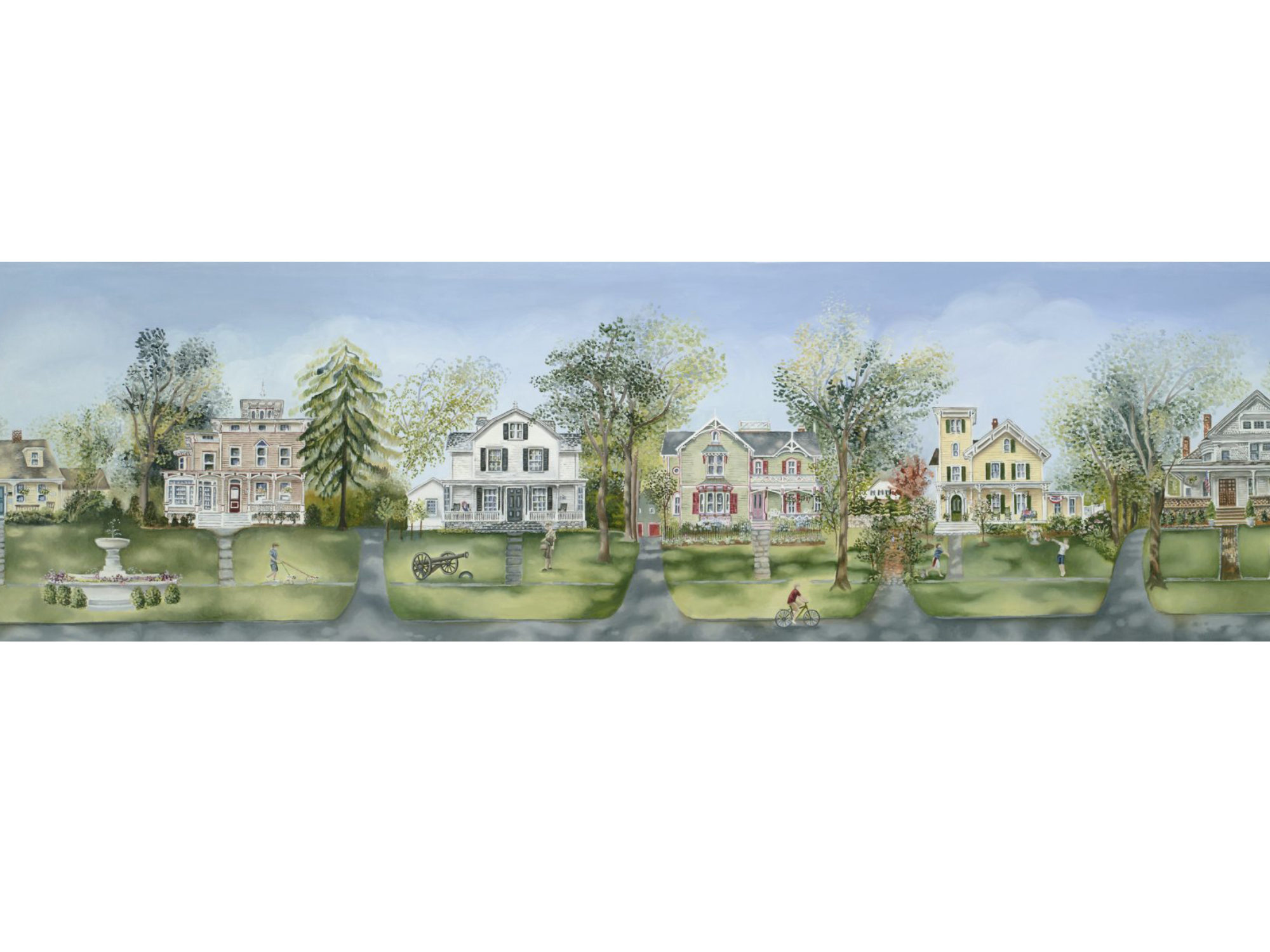 Print of illustration of homes on Main Street in downtown Ridgefield, CT featuring porches.