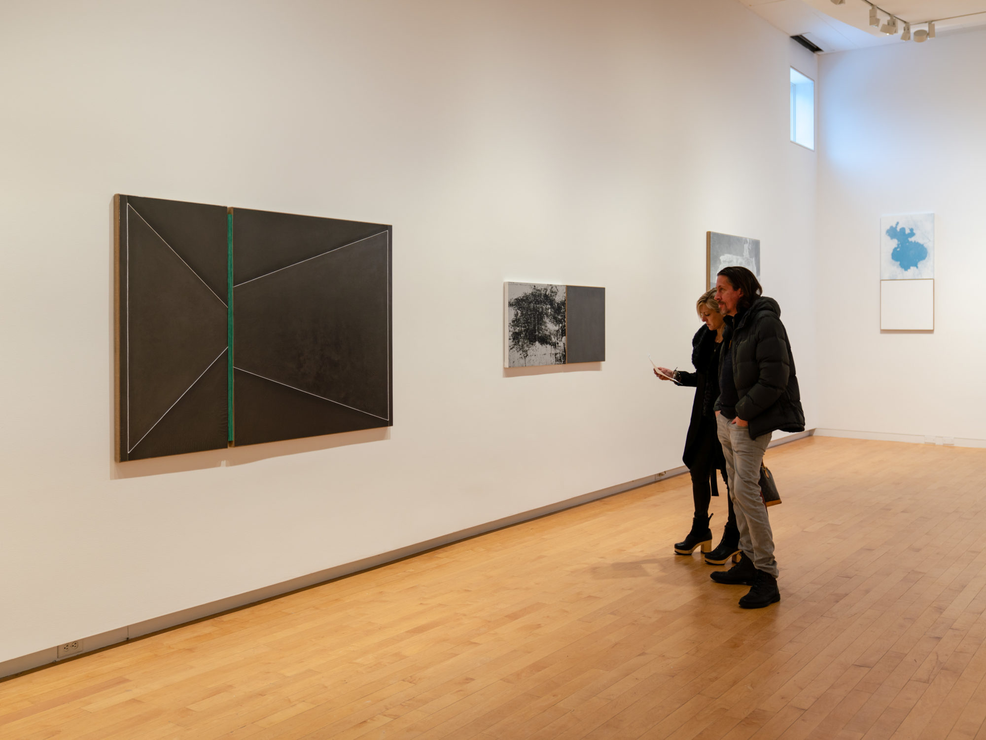 Visitors in front of paintings by N. Dash.