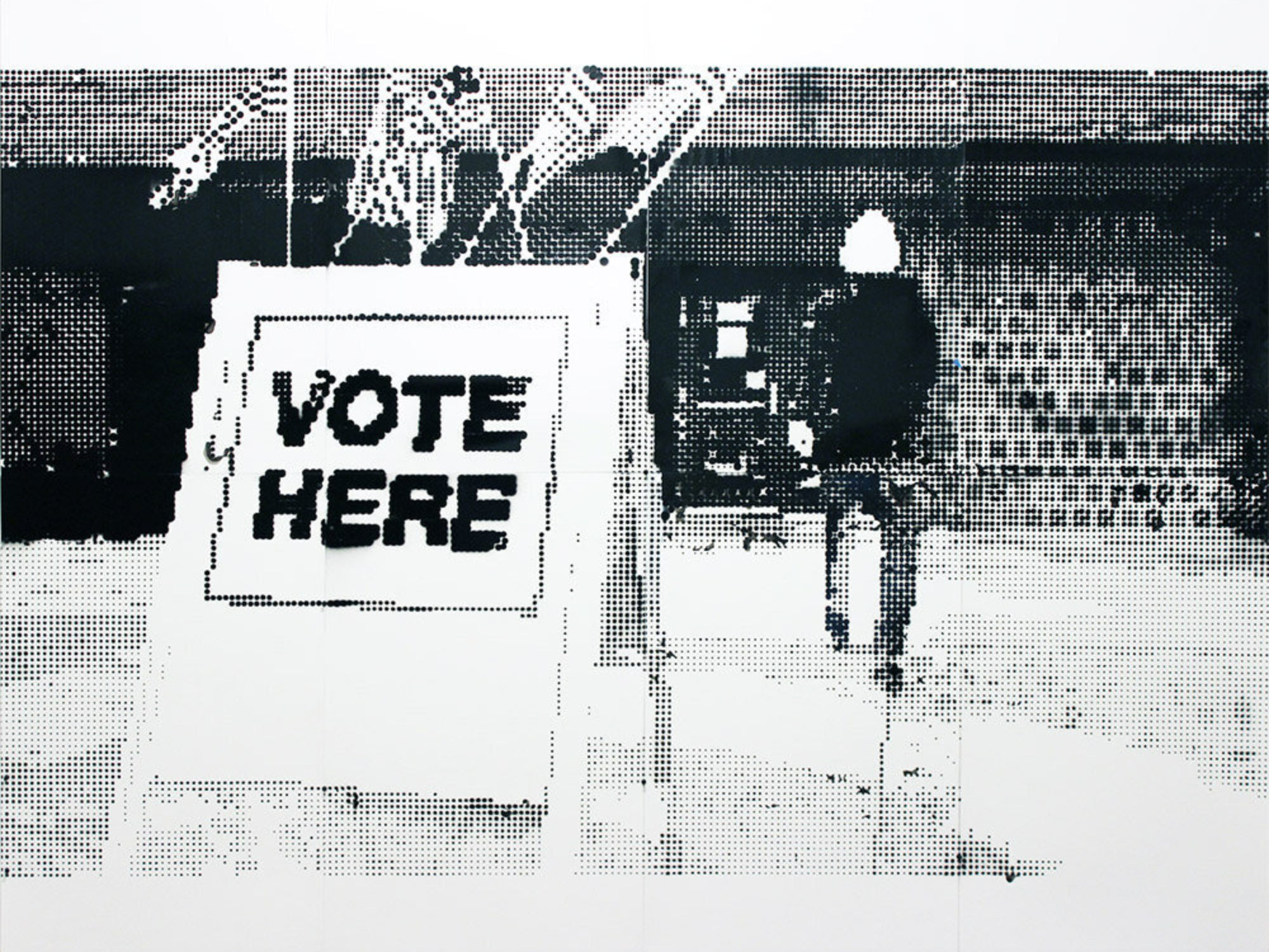 "Sign reading ""vote here,"" while a man in the foreground approaches a building"